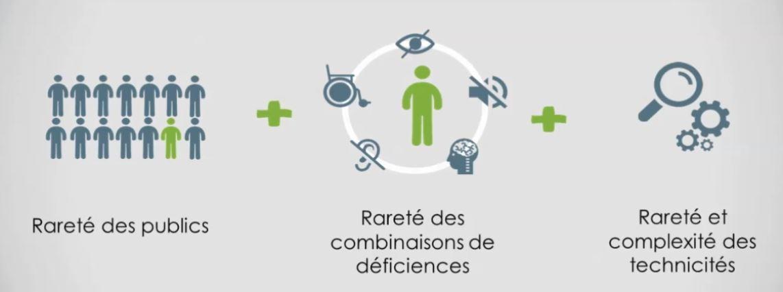 Schéma reprenant de façon imagé les trois combinaisons de rareté du handicap rare