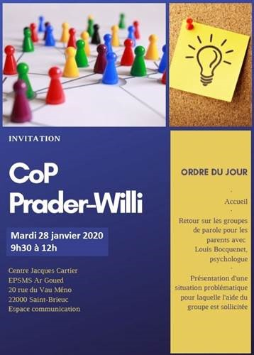 Affiche sur la Communauté de Pratiques (CoP) Prader Willi