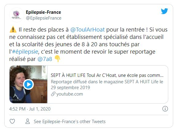 Capture tweet association épilepsies France
