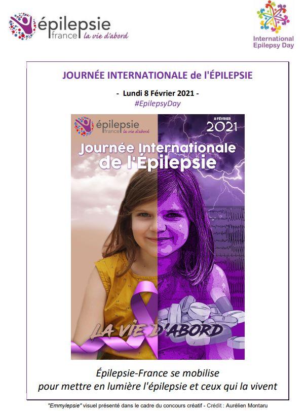 Affiche de la journée internationale de l'épilepsie: une petite fille sourit mais d'un côté il y a de l'orage et des cachets